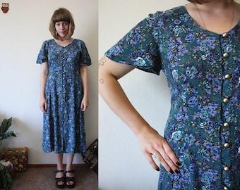 Vintage 90s Blue & Purple Floral Maxi Summer Dress / S