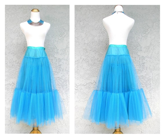 Vintage 80s does 50s Crinoline, Tutu, Can Can Skirt - Bright Turquoise Blue Tulle Netting - Small S Size 5 6 - Ballerina 80s Cosplay Party