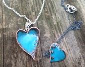 Mother and daughter heart necklaces enameled copper
