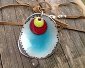 Enameled runners necklace, yoga, wearable art!