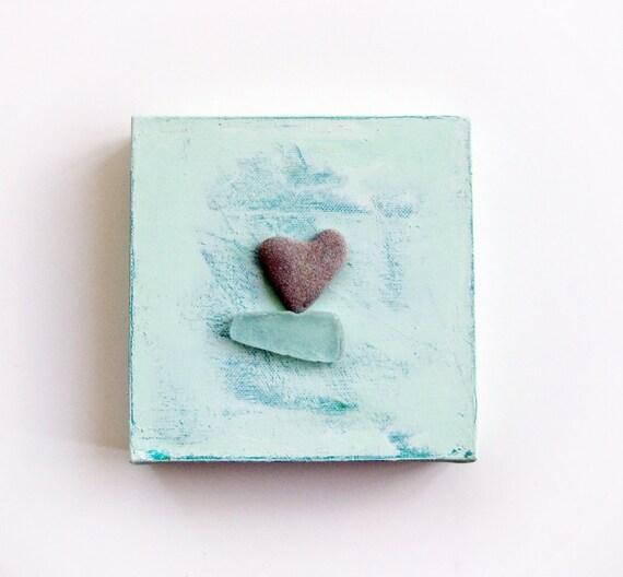 SALE - Unique Home Decor - Love's a beach -  genuine Heart shaped Beach stone rock