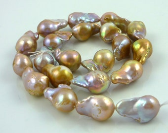 Beautiful multi colored pondslime nucleated flameball pearls 15-21mm 1/2 strand
