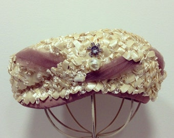 Vintage 60's Straw Hat / Cream w/ Taupe Tulle and Rhinestone Embellishment