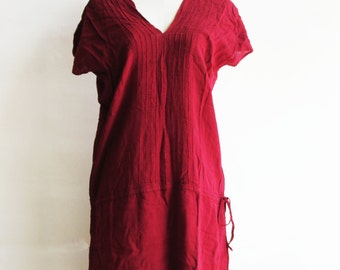D21, V Neck Red Cotton Dress