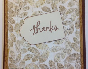 Nature Thank You card, LEAVES, leaf, thanks, thank you, brown, neutral colors