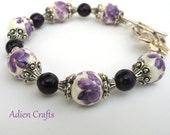 Purple Flower Bracelet, Ceramic Bead Bracelet, Gift for Her,  Mothers Day Gift