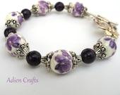 Purple Flower Bracelet, Ceramic Bead Bracelet, Gift for Her,  Mothers Day Gift