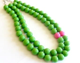 Lilly Pulitzer necklace, Green statement necklace, Green and pink necklace