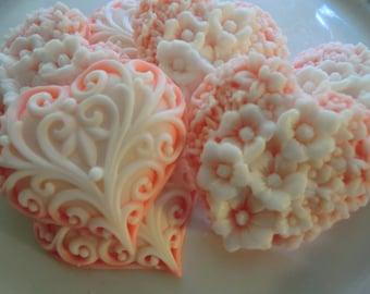 20 Heart Soap - orange/white bridal shower favor, wedding favor