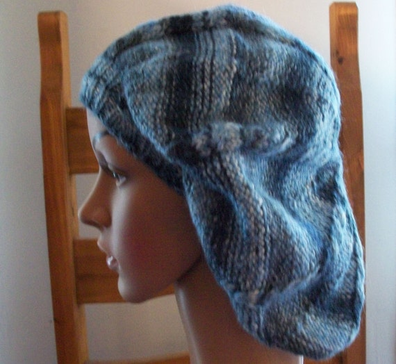 Cable Beret Knitting Pattern : Slouchy beret hand knitted cable pattern DK yarn one size