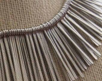 Silver Metal Boho Fringe Necklace // Spike // Sunburst // Needles Necklace