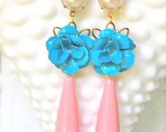 Vintage Aqua Blue Flower Pearl Pink Drop Dangle Earrings - Wedding, Bridal, Bridesmaid, Statement Earrings, One of a kind, Beach