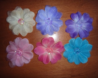 "4"" Sequin Centered Flower Hair Clips (Choose from 6 colors)"
