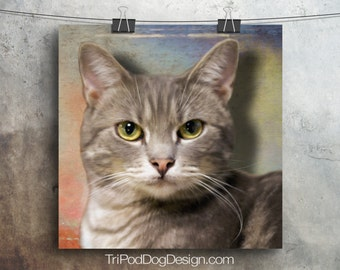 Grey Tabby Cat Digital Download Printable
