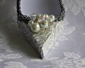 Silver and White Damask High Heel Paper Shoe Original Design