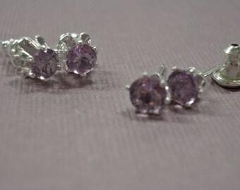 Amethyst Earrings - Amethyst Post Earrings - Sterling Silver & Amethyst Birthstone Earrings