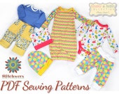 Pattern Bundle Baby Suite I, Set of 4 Baby Clothes Sewing Patterns, Preemie-12M, Infant Layette Sewing Patterns, PDF Patterns