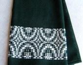 Guest Towel, Handwoven Hand Towel, Green and White, Loomed Towel, Woven Dish Towel, Handwoven Textile, Hand Woven Tea Towel, Hostess Gift