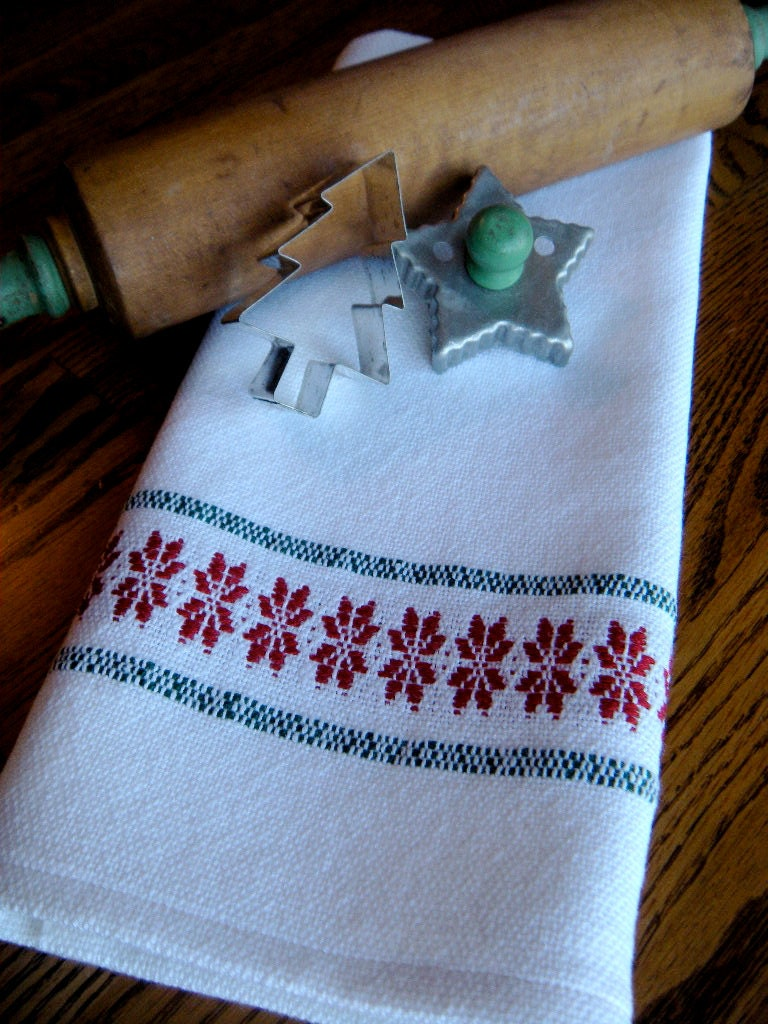 Christmas Kitchen Towel Christmas Handwoven Towel Holiday