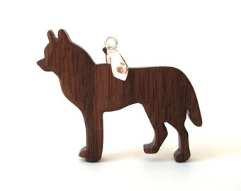 Siberian Husky Dog Necklace Wooden Dog Pendant Sled Dog Scroll Saw ...