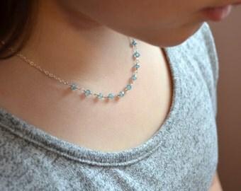 Blue Zircon Necklace Child Children Girl Genuine Aqua Gemstone Sterling Silver Wire Wrapped December Birthstone Jewelry