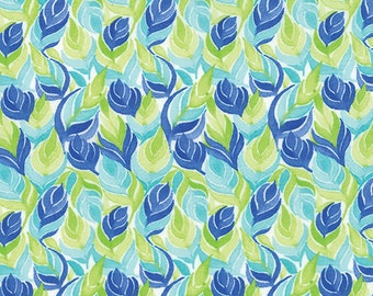 Fleurologie - Leaves Feathers in Blueberry by Stephanie Ryan for Moda Fabrics