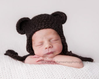 NEWBORN 0-1 Months Organic Hat, Baby Boy Organic Hat, Baby Boy Teddy Bear Hat, Baby Organic Hat, Espresso Brown. Very Soft. Photo Props.