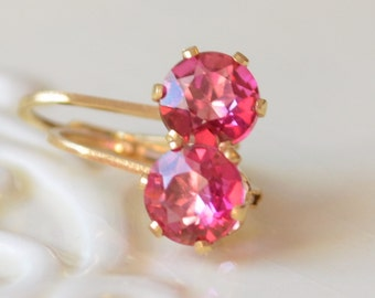 Pink Topaz Earrings, Gold Filled Leverback Earwires, Bright Fuchsia Gemstone Jewelry, Simple Drop Lever, Free Shipping