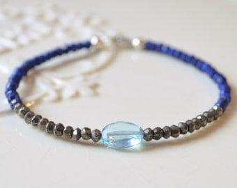Lapis Lazuli Bracelet, Pyrite Gemstones, Swiss Blue Topaz, Minimalist Beaded Jewelry, Royal Blue, Sterling Silver, Free Shipping