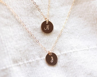 Layered Initial Necklace, Double Strand Necklace, Personalized Jewelry, Gold Filled, Custom Initial Necklace, Dainty Mother's Necklace