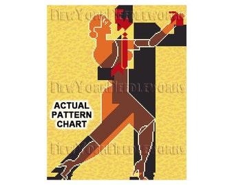 Art Deco Dancers Cross Stitch, Tango Dancers, Art Deco Couple, Silhouettes, Cross Stitch, Dancing Couple from NewYorkNeedleworks on Etsy