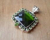 Green Quartz, Peridot and  Silver Pendant - Destash