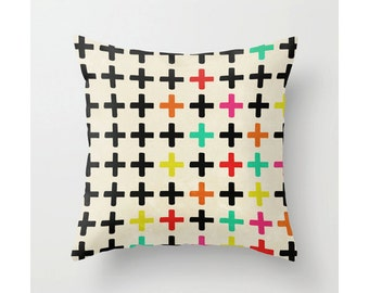 "Plus Signs Pillow Case Retro Geometric Print Colorful Hipster Home Decor Pillow Cover ""PLUS SIGNS"""