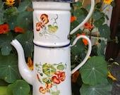 SALE Enameled  French COFFEE POT white & Nasturzium flowers Airbrushed