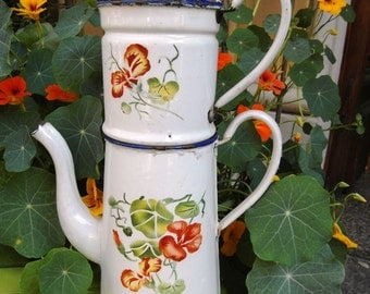 SALE Enameled  French COFFEE POT white & Nasturzium flowers Airbrushed