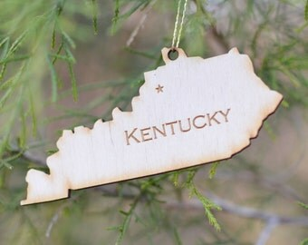 Natural Wood Kentucky State Ornament