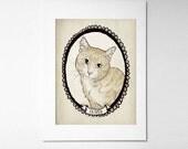 Orange Peach tabby cat 5x7 personalized Pet Portrait, digital art print, cat lady, Custom Cat, kitty, pets, feline