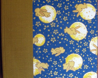 Handbound Rabbits/Moon Lined Journal Colored Pages