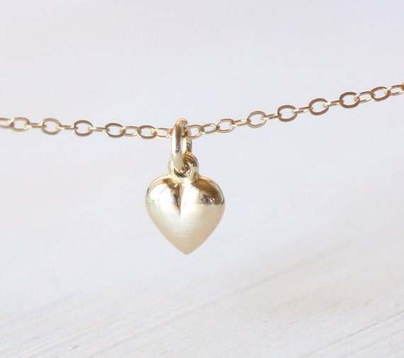 The Simple Tiny Gold Heart Necklace - On 14K gold filled chain