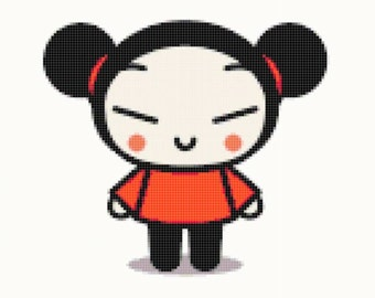 0.99 SALE!!! of Pucca and Smile cross stitch pattern, Digital PDF/JPG Instant Download