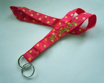 PERSONALIZED Lanyard With NAME in Polka Dot Prints Your Choice of Fun Ribbon Prints Perfect for Mom, Teacher, Student, Nurse