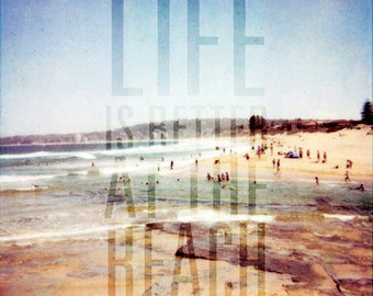 Life is Better at The Beach Photo, POLAROID, Australian Beach Photo with Quote, Sydney Australia, Typography, Quote, Polaroid Photo, Seaside