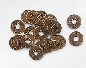 6pcs Antique brass finish Chinese coins (17mm)