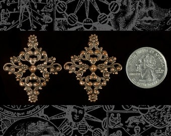 Set of Two Large Copper Plated Brass Floral Ornate Diamond Filigrees for Cameo Setting  *C-W30