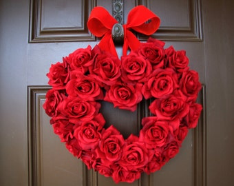 """An """"I Love You"""" Red Roses Heart Wreath with Red Ribbon"""
