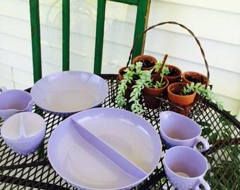 Mid Century Lavender Melmac Melamine Dishes