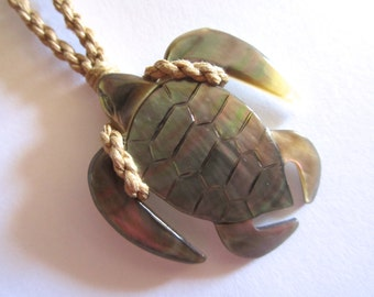Baby Hand Carved Unique Little Turtle Honu Adjustable Necklace-FREE SHIPPING