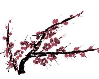 Plum Blossom - Maroon - Notecard, set of 5