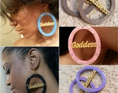 Painted Wood Goddess Earrings with matching Ankh 5 pair