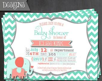 Printable Aqua & Peach Elephant Baby Shower Invitation - Digital File ONLY